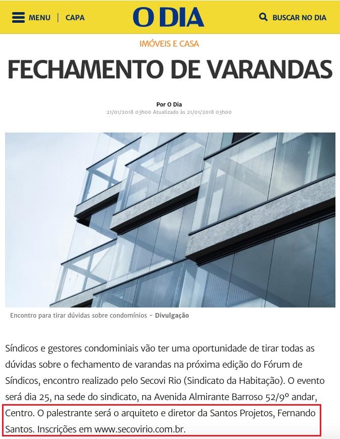 Jornal O Dia Online – Nota Fechamento de Varandas