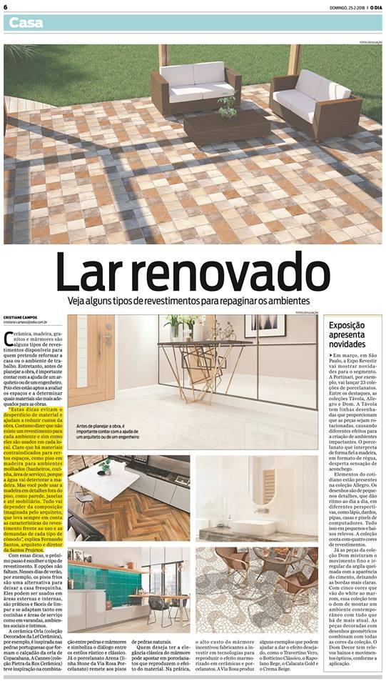 Jornal O Dia – matéria Lar renovado