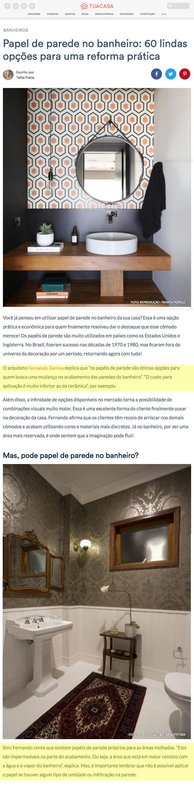 Portal Tua Casa – matéria Papel de parede no banheiro: 60 lindas opções para uma reforma prática