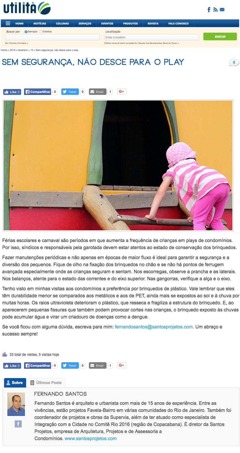 Coluna Portal Utilità: Sem segurança, não desce para o play