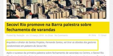 Portal Mercado Imobiliário – Secovi Rio promove na Barra palestra sobre fechamento de varandas