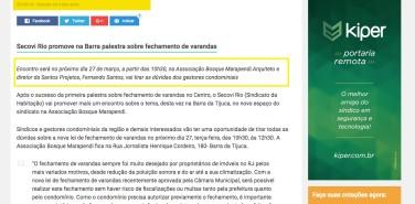 Portal Síndiconet – matéria Secovi Rio promove na Barra palestra sobre fechamento de varandas