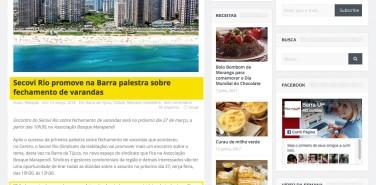 Portal BarraUp – matéria Secovi Rio promove na Barra palestra sobre fechamento de varandas