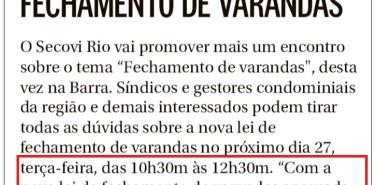 Jornal O Globo (Morar Bem) nota Fechamento de varandas