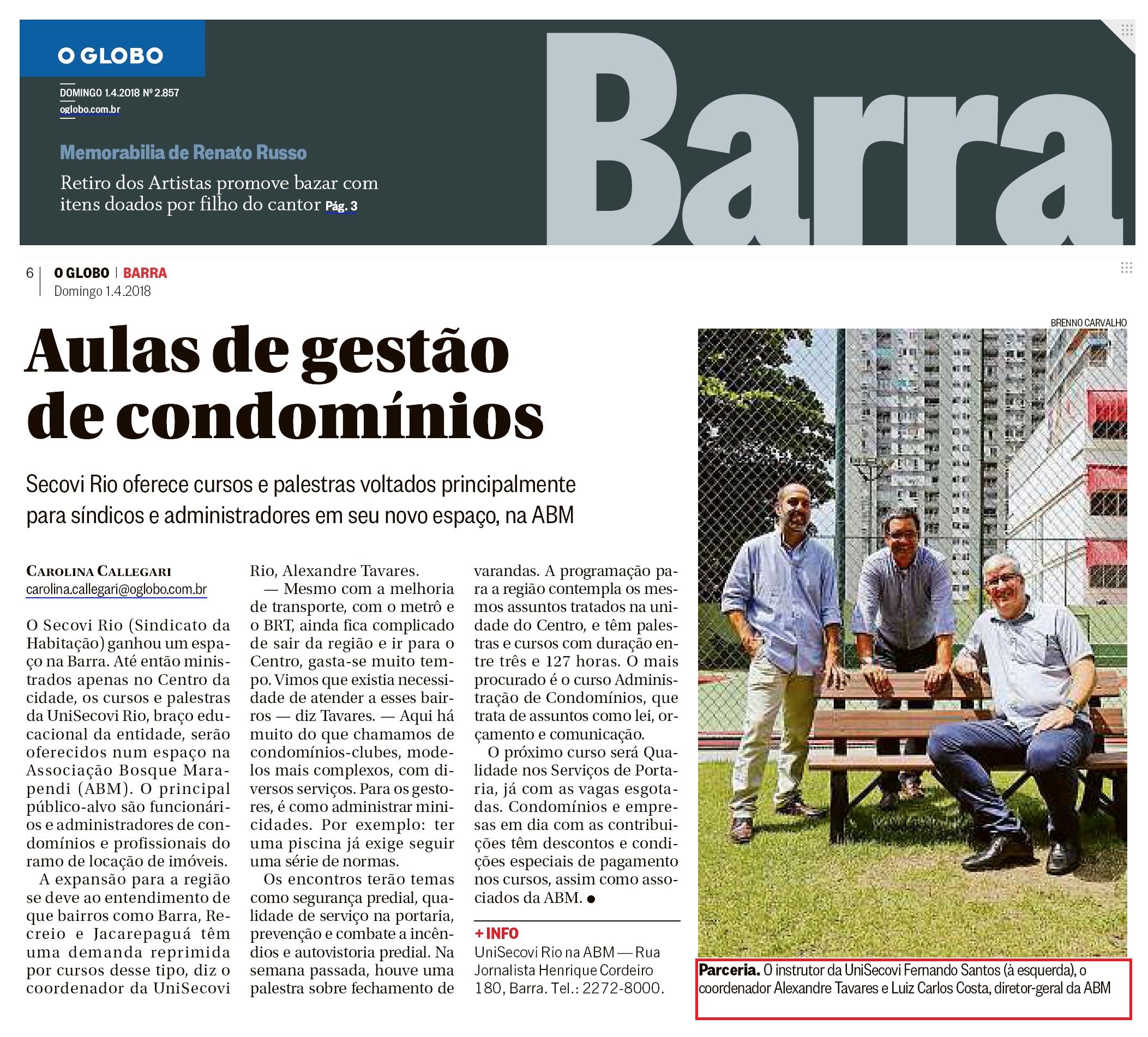 Jornal Globo Barra – matéria Aulas de gestão de condomínios
