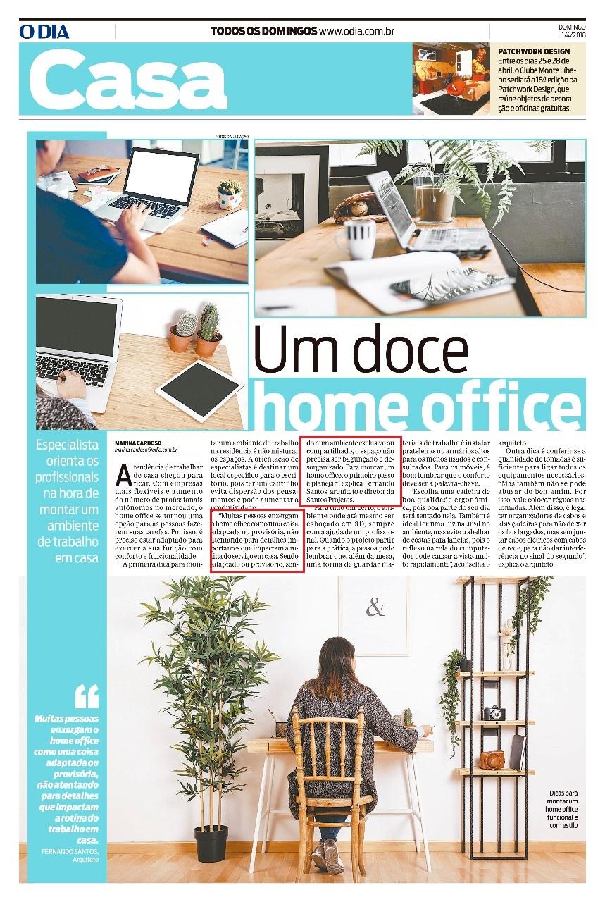 Jornal O Dia – matéria Um doce de home office