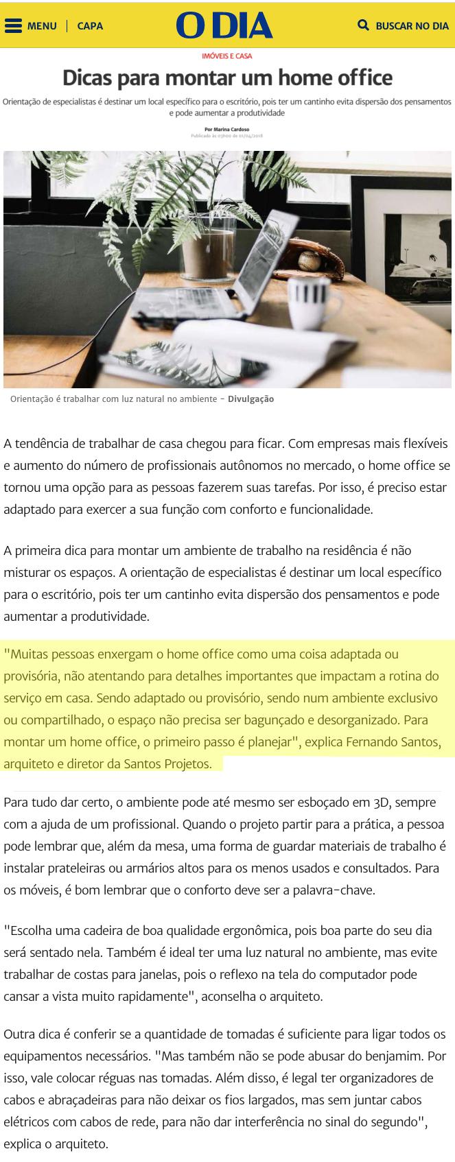 O Dia Online – matéria Dicas para montar um home office