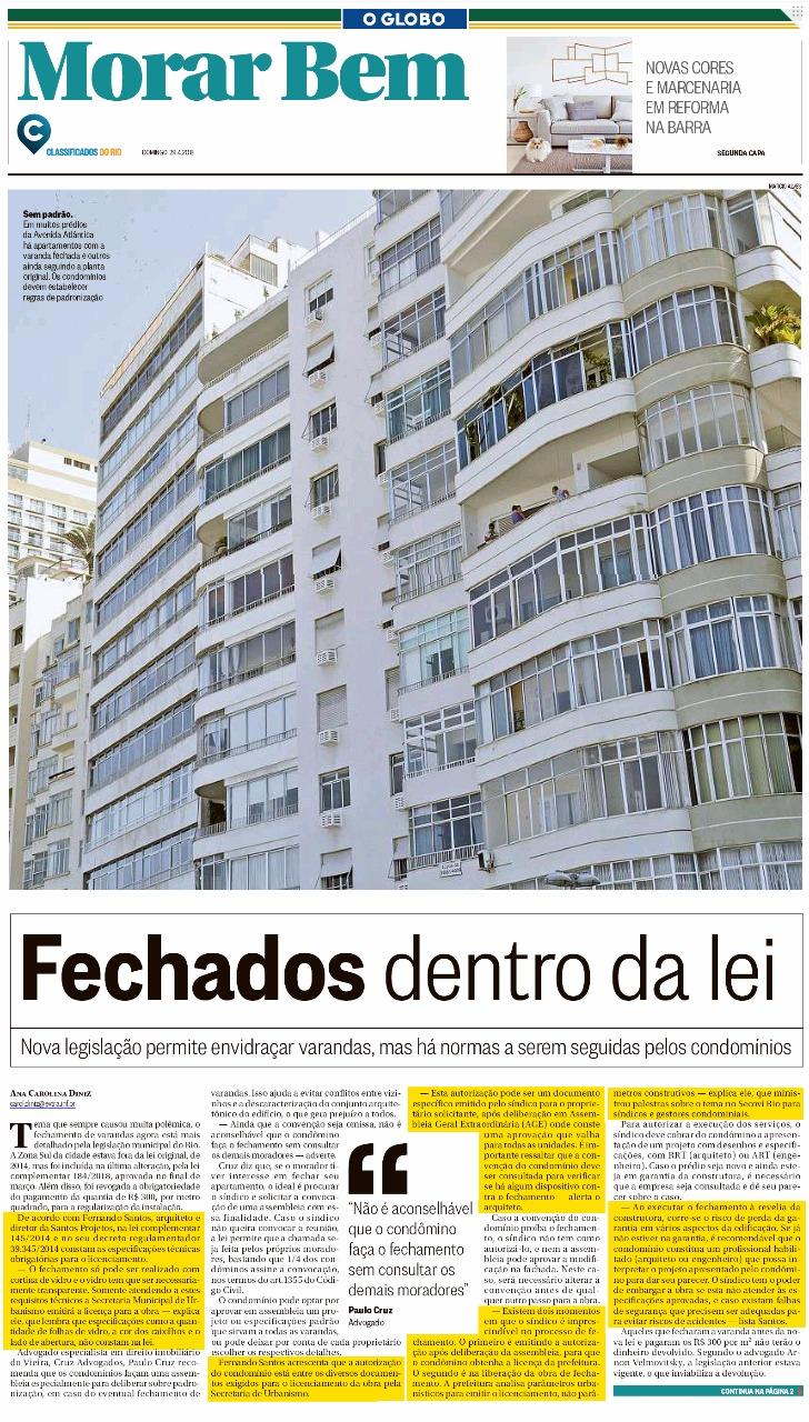 Jornal O Globo (Morar Bem) – matéria Fechados dentro da lei