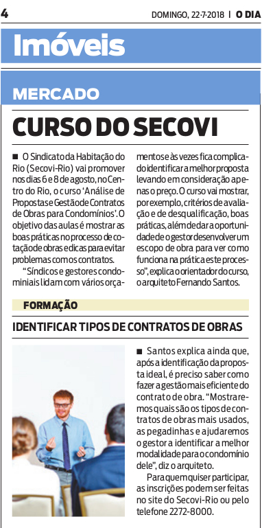Jornal O Dia – Curso Secovi Rio
