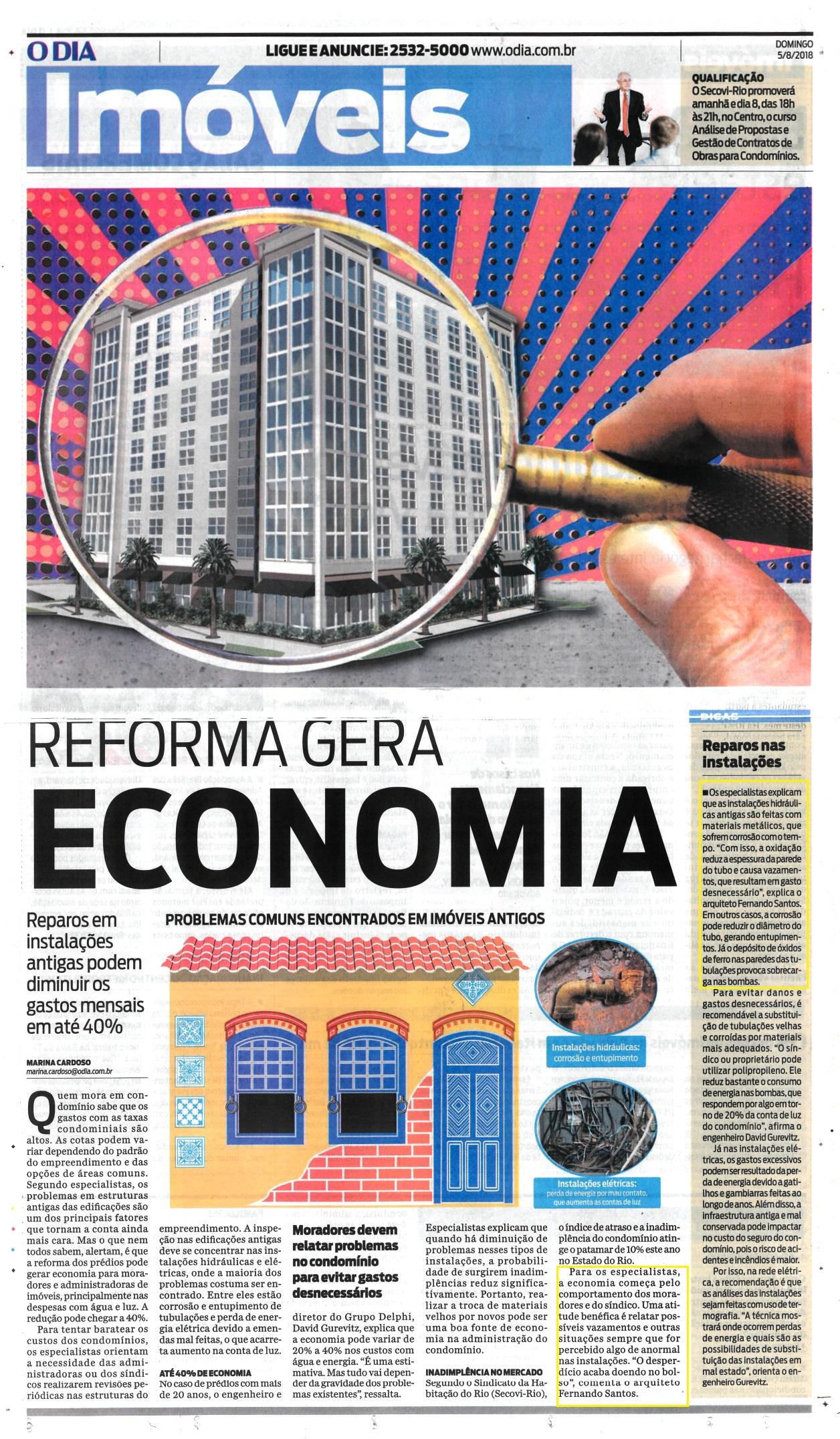 Jornal O Dia –  matéria Reforma gera economia