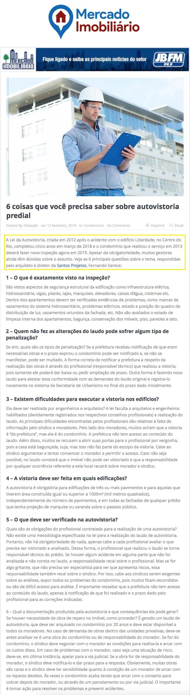 Portal Mercado Imobiliário – 6 coisas que você precisa saber sobre autovistoria predial