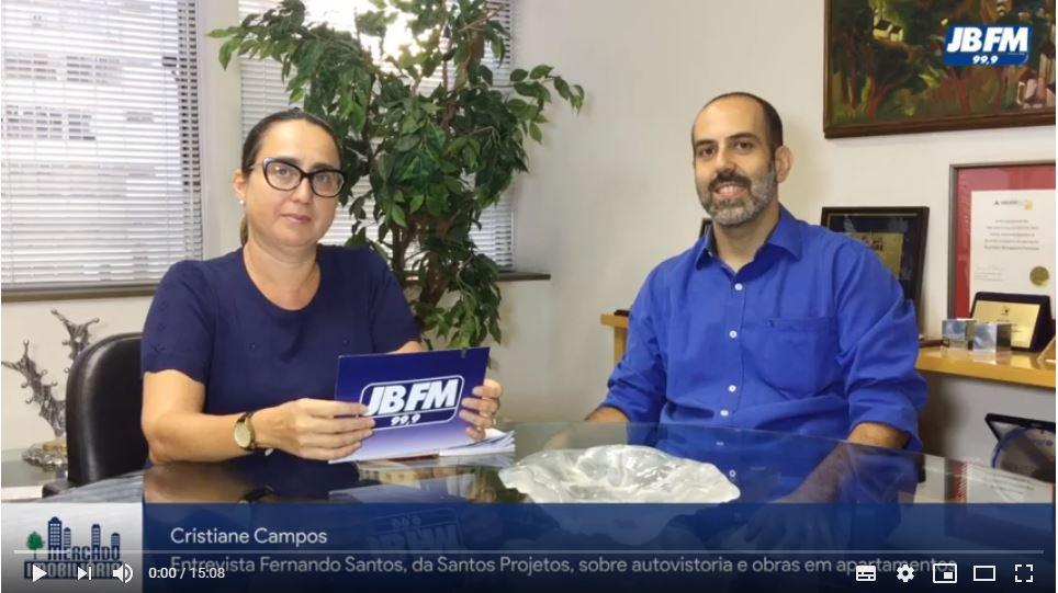 Programa Mercado Imobiliário da Rádio JBFM sobre autovistoria e obras