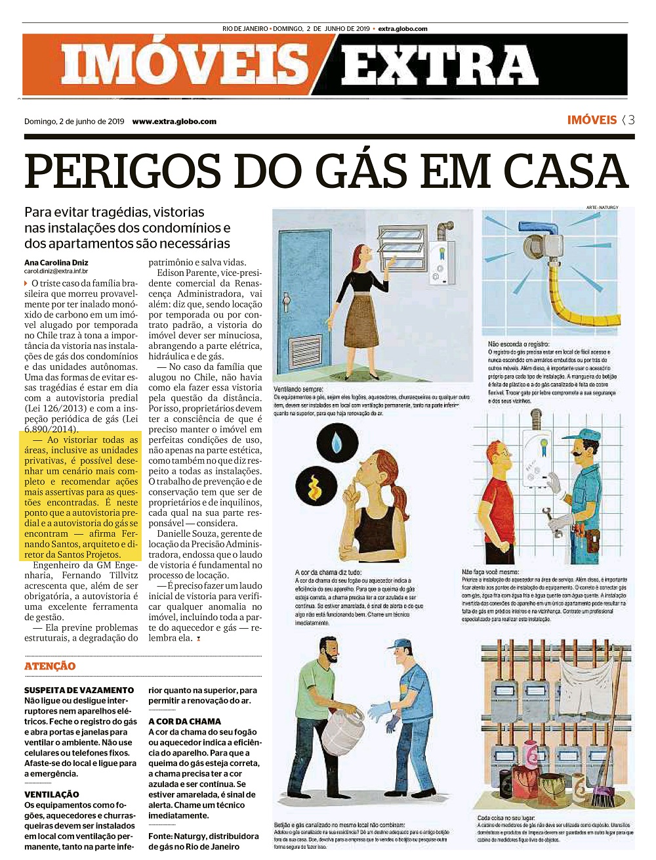 Jornal Extra – Perigos do gás em casa