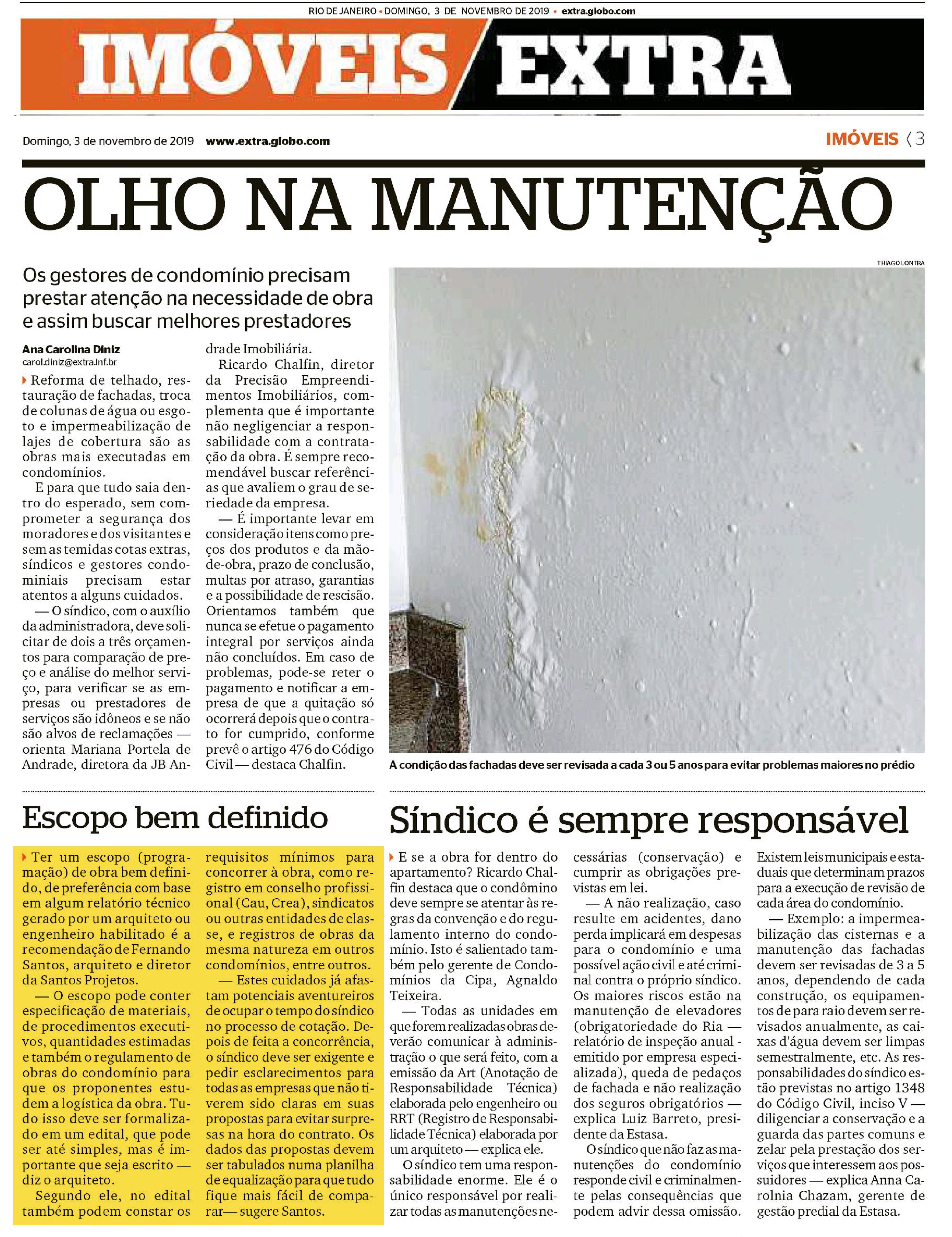 Jornal Extra (caderno Imóveis) – Olho na manutenção
