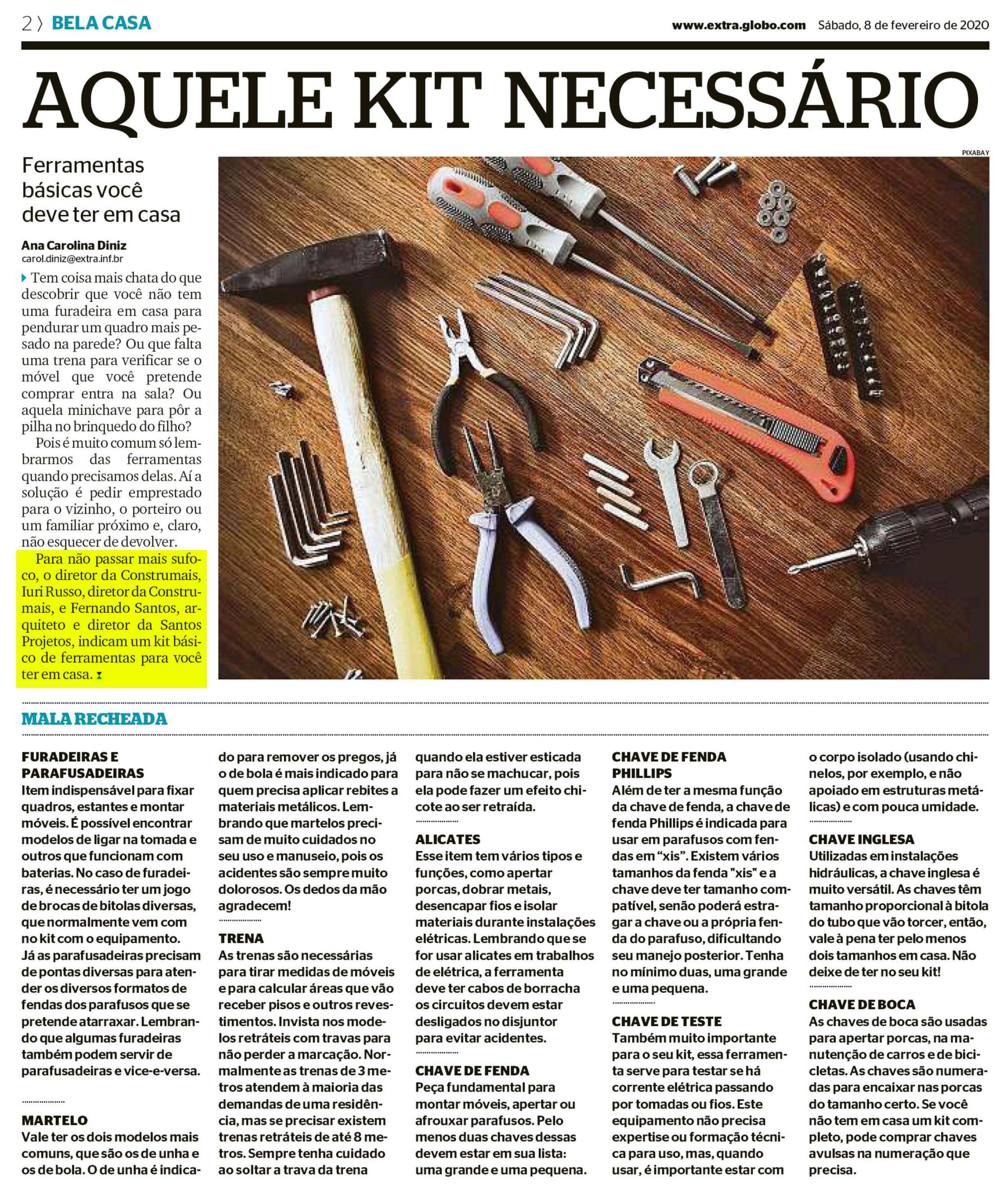Jornal Extra (caderno Bela Casa) – Aquele kit necessário